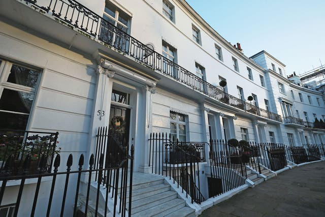 A general view of Egerton Crescent in the Royal Borough of Kensington and Chelsea, on December 28, 2013 in London, England. Egerton Crescent has been named by Lloyds Bank as Britain's most expensive road to live in, with average property prices around £5M