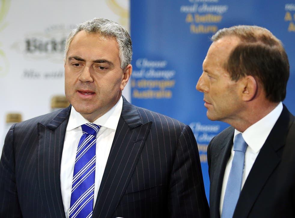 Joe Hockey, the Australian Treasurer and (right) PM Tony Abbott