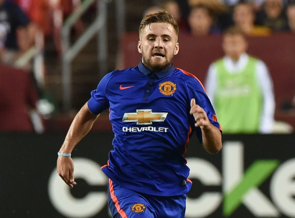 Luke Shaw in action during Manchester United's pre-season