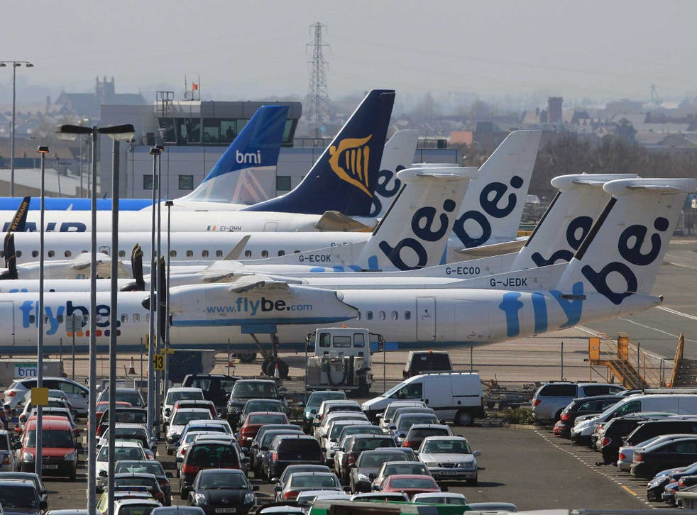 Planes, including FlyBe's, lie up at Belfast City Airport