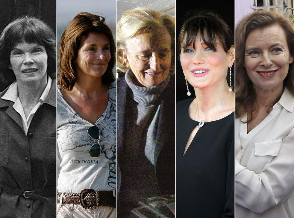 First ladies, from left to right: Danielle Mitterrand, Cecilia Attias, Bernadette Chirac, Carla Bruni-Sarkozy and Valerie Trierweiler