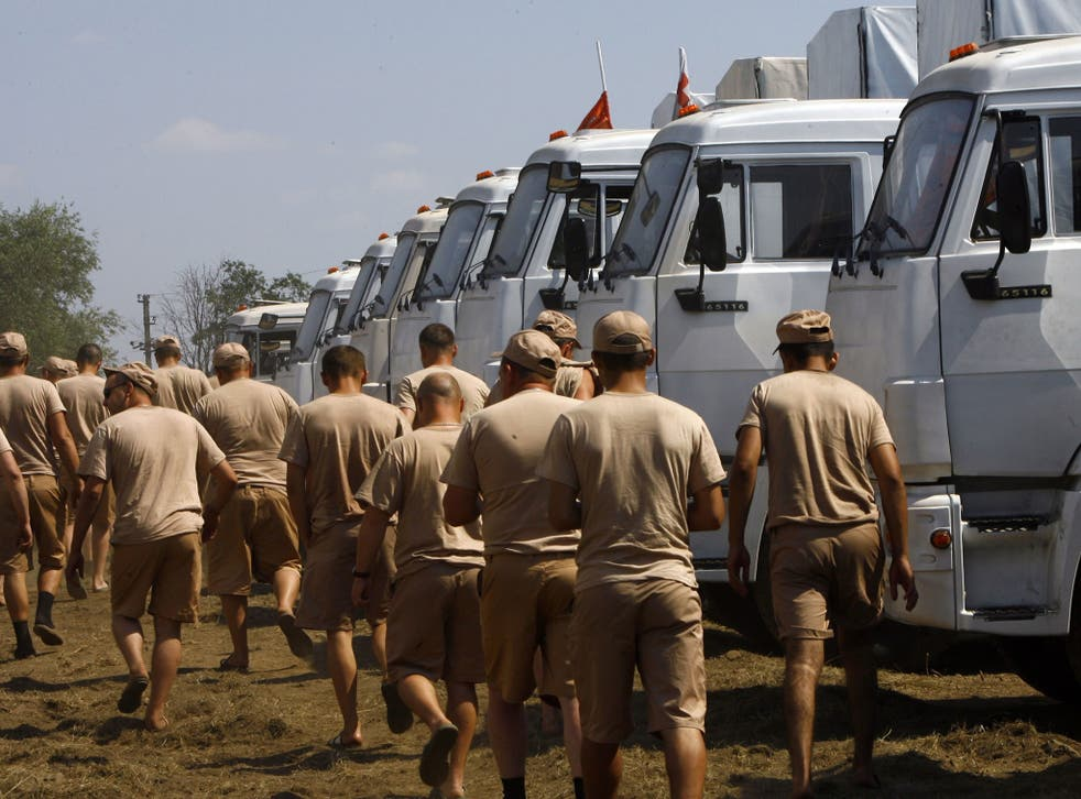 Drivers with the Russian convoy