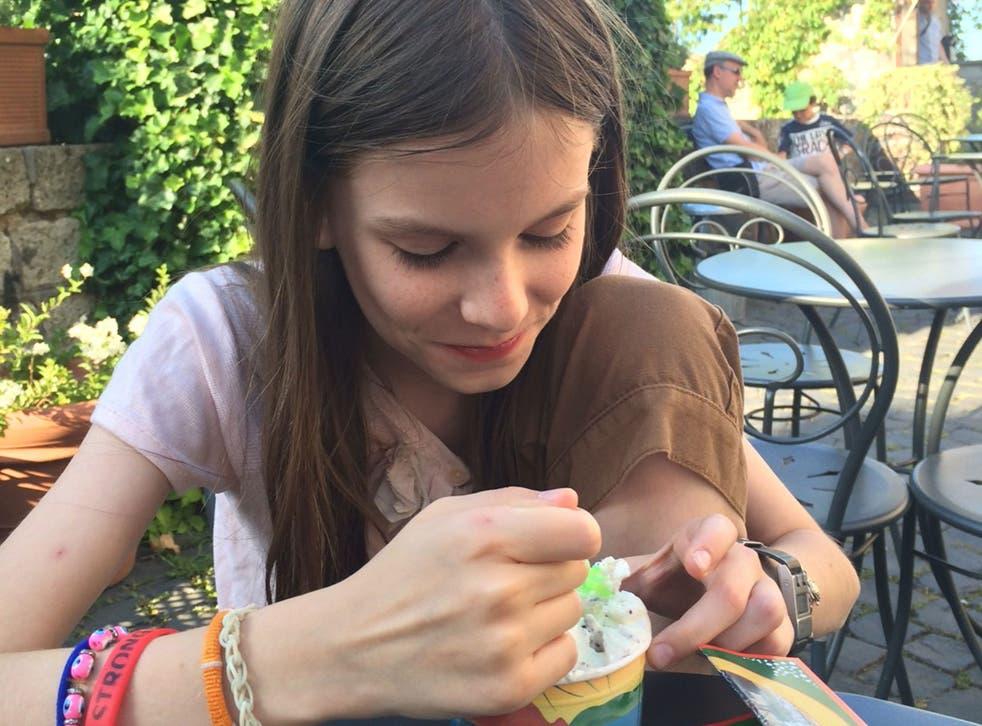 No gluten? No problem: Matt Learmonth's 11-year-old daughter tucks into gelato in Italy