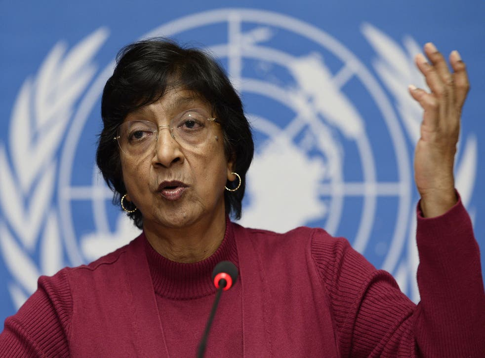 UN High Commissioner for Human Rights Navi Pillay gives a press conference on December 2, 2013 at the United Nations offices in Geneva.