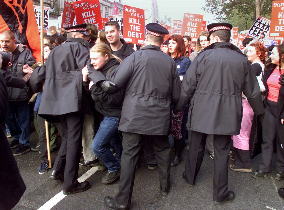 Students demonstrating about the rising costs of education fees in 2000