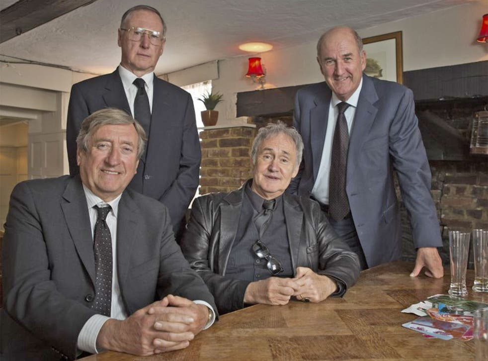 Men in black: Philip Jackson, James Smith, Nigel Planer and Russ Abbot in 'Boomers'