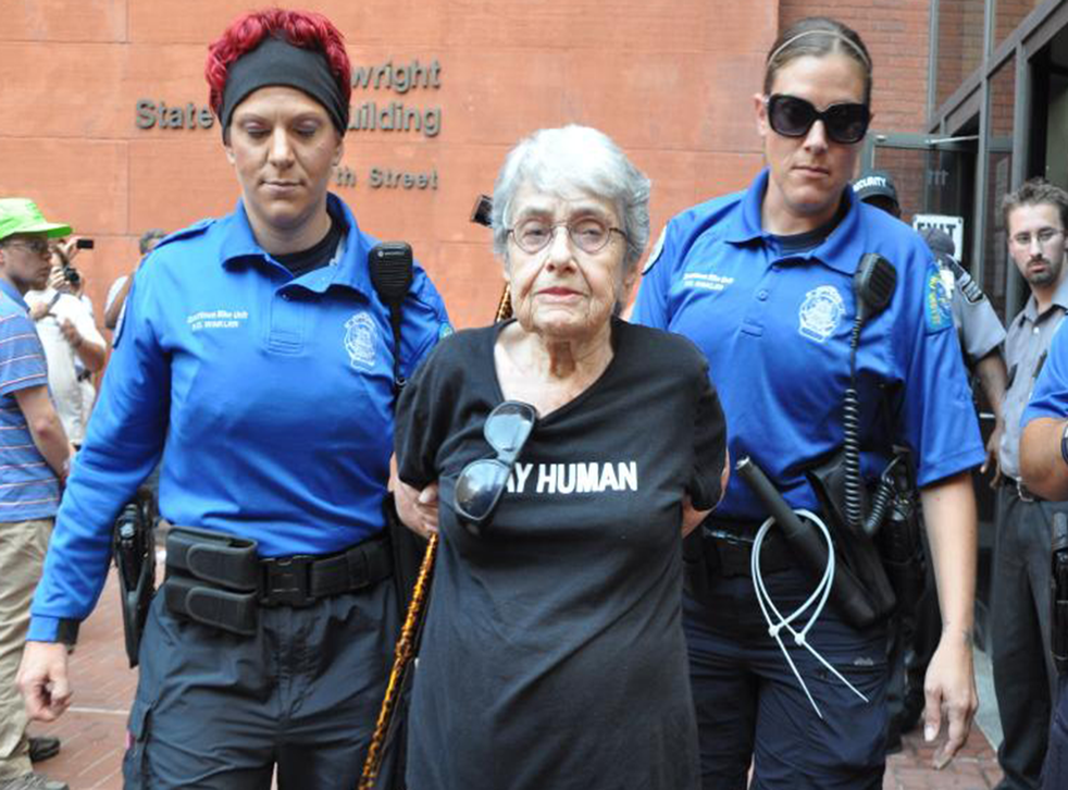 Hedy Epstein, a 90-year-old Holocaust survivor, was among those arrested for blocking the Nixon office building