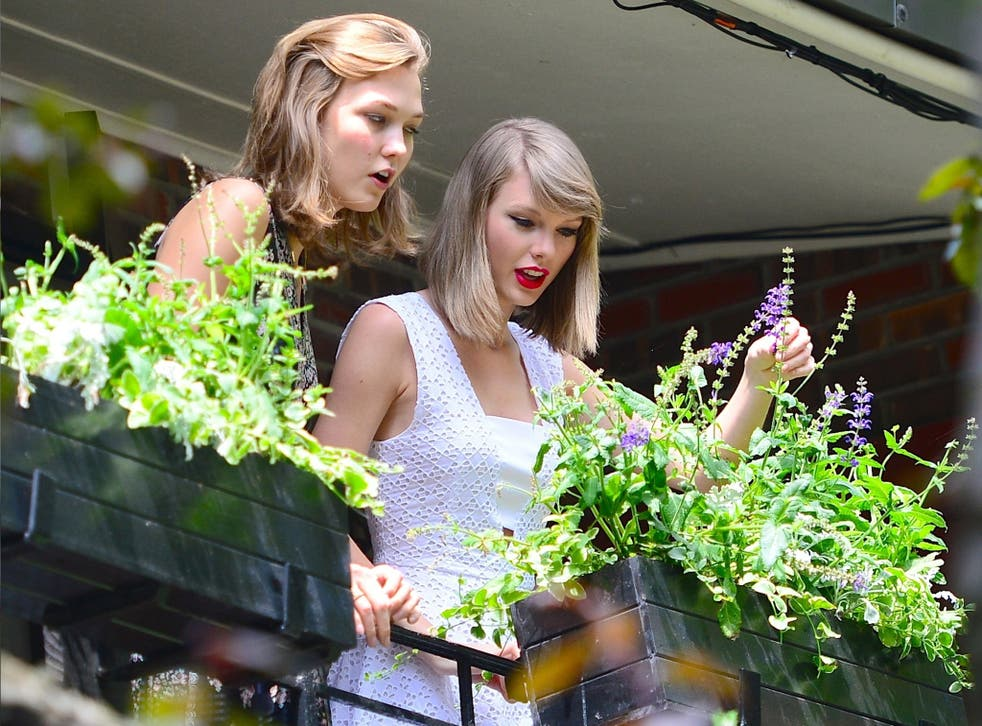Salad days: singer Taylor Swift and model Karlie Kloss tend to their window box