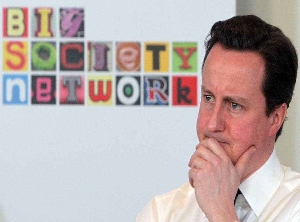 The Prime Minister during a speech he gave on the Big Society in 2011