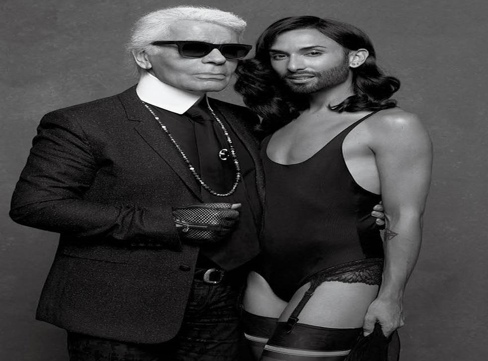 Karl Lagerfeld with Conchita Wurst during shoot for CR Fashion Book