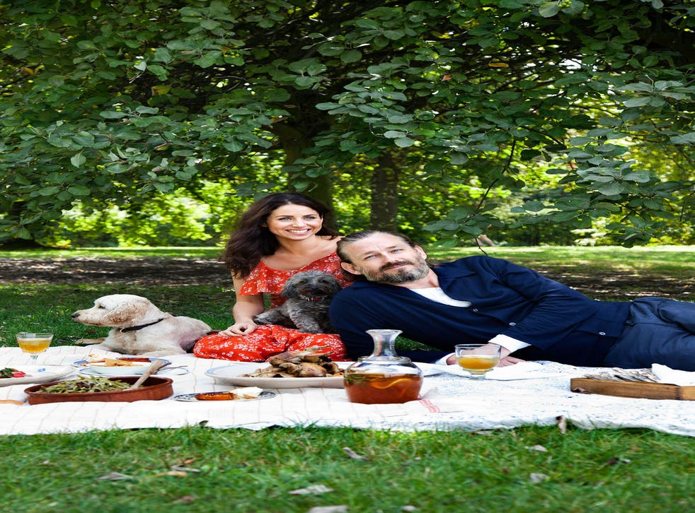 Florence with her husband, Richard, and their dogs at Kenwood House, London
