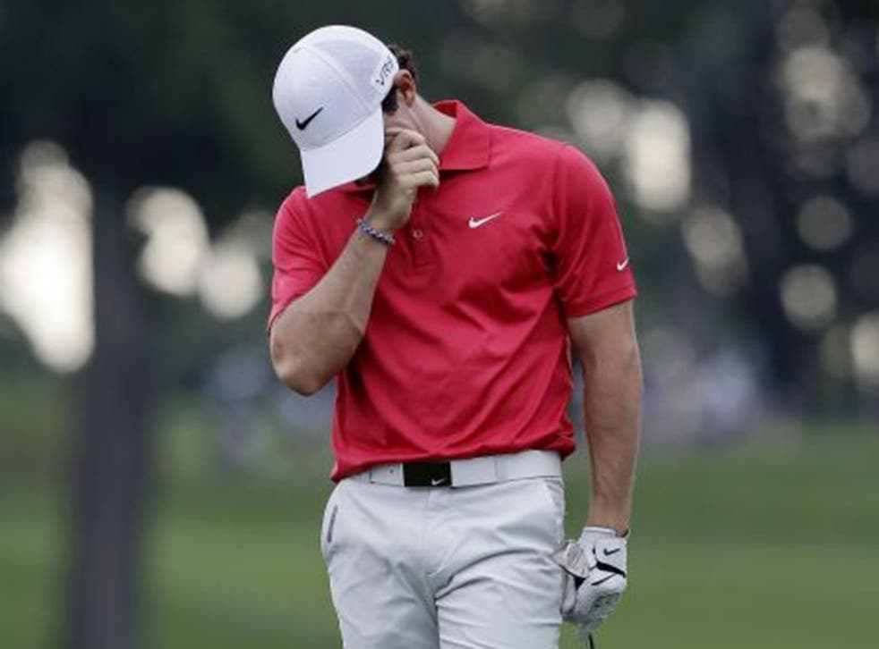 Rory McIlroy hit three bogeys and a double-bogey yesterday