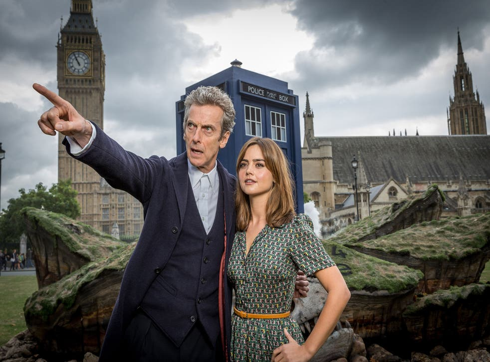 Peter Capaldi as the Doctor and Jenna Coleman as his assistant, Clara Oswald, in 'Doctor Who'