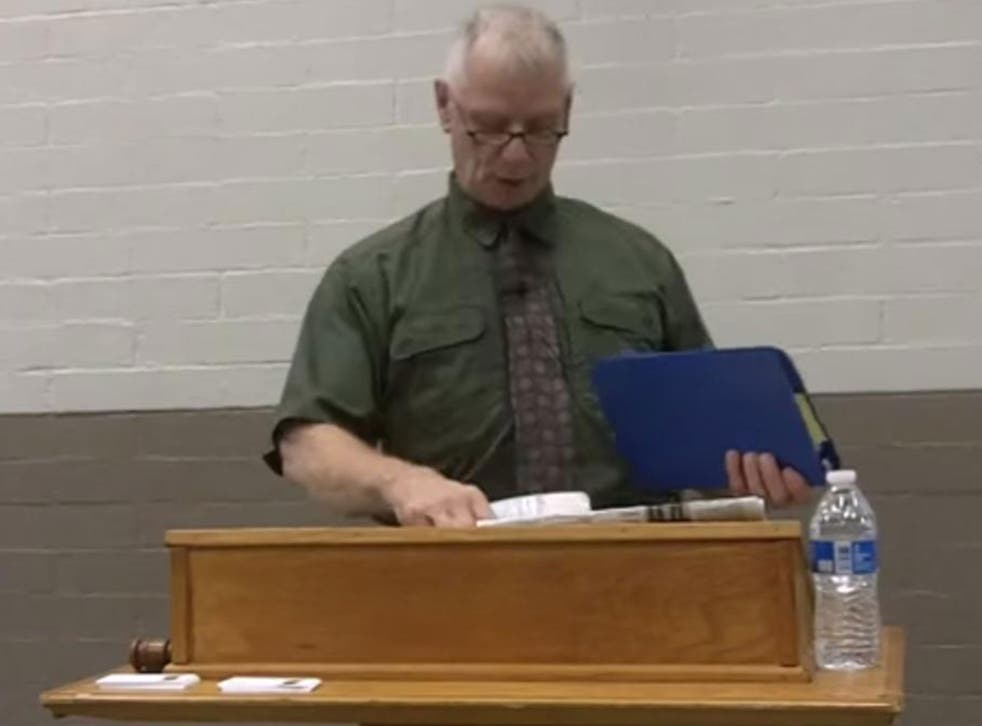 Officer Dan Page, a 35-year-veteran of the police force and US military was placed in an administrative position pending an internal investigation after footage of a speech he gave attacking Muslims, gay people and black people in April.