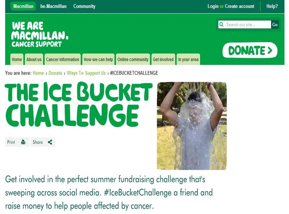 Macmillan has come under fire for using the Ice Bucket Challenge to raise funds for its charity