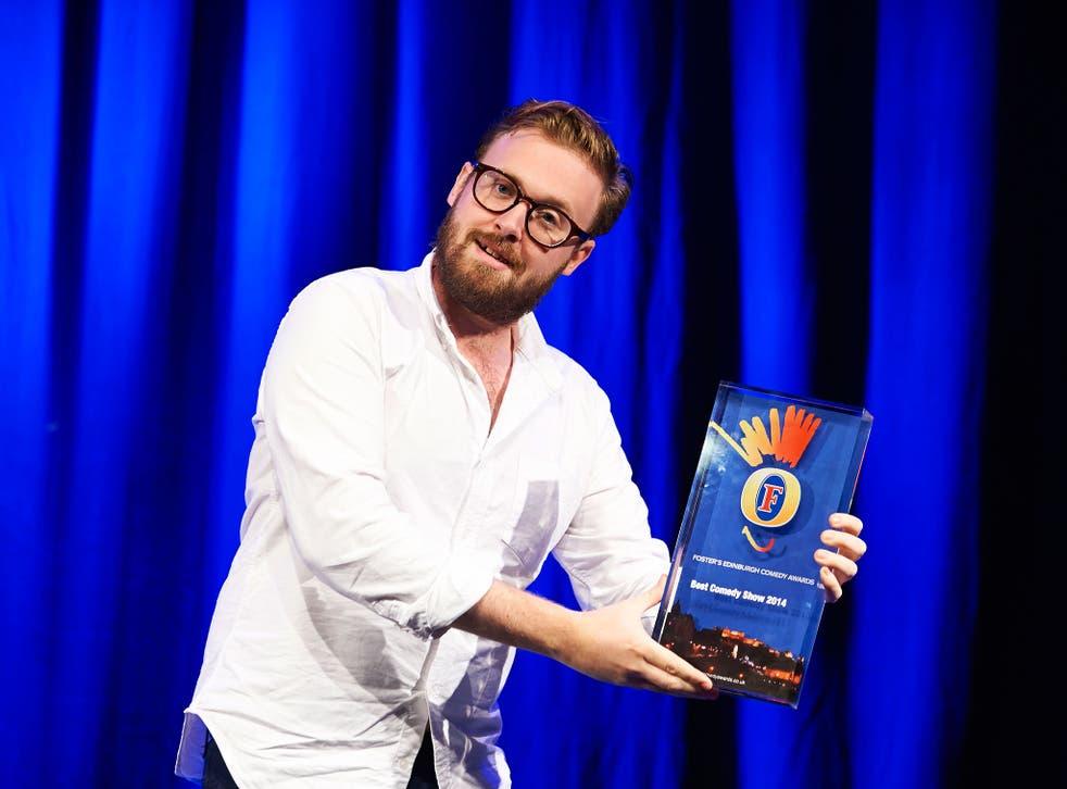 John Kearns celebrates winning the Foster's Edinburgh Comedy Award