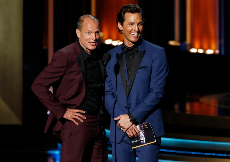 Matthew McConaughey And Woody Harrelson On Stage At The 66th Primetime Emmy Awards