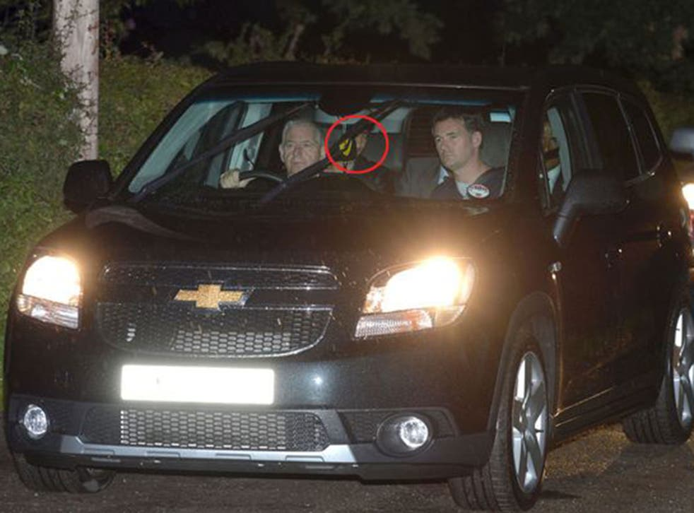 Angel Di Maria arrives at Manchester United's Carrington training ground on Monday night