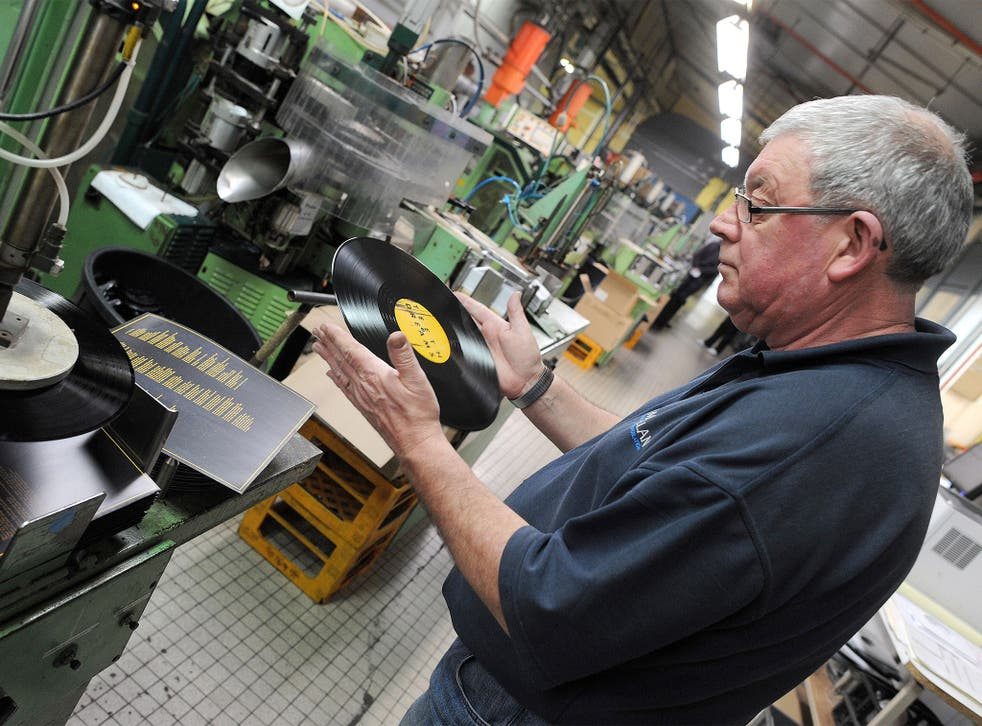 Vinyl demand: a factory making the old-style discs