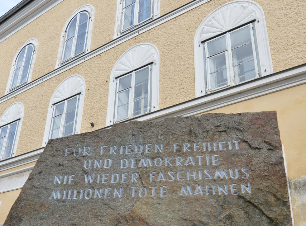 A stone outside Hitler's birthplace in Braunau pays tribute to victims of fascism