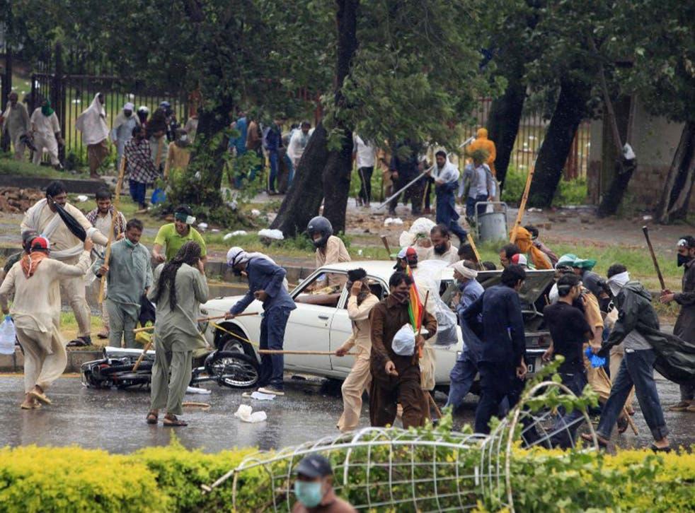 Supporters of Tahir-ul-Qadri in Islamabad on Monday