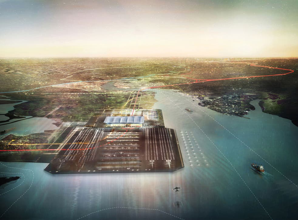 An artist's impression of how a four-runway airport at the Thames Estuary may look