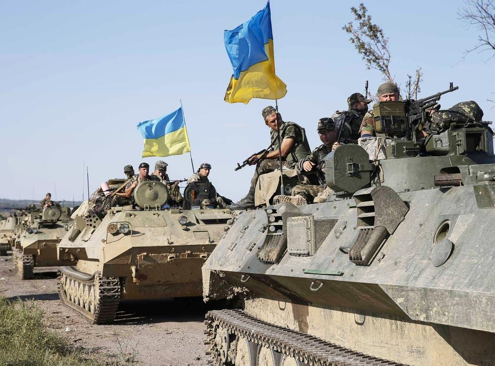 Ukrainian soldiers near the city of Slaviansk as fighting continued in eastern Ukraine