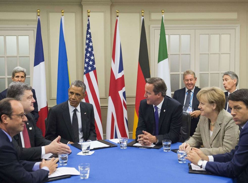 Petro Poroshenko with Nato leaders at a summit in Wales.