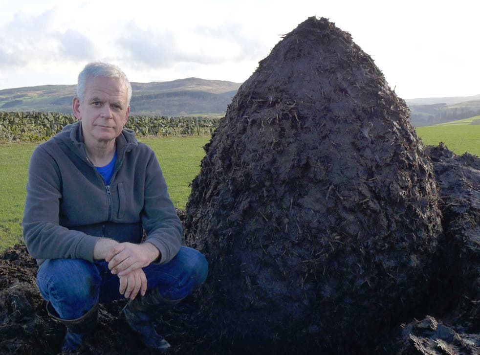 Pile it on: Andy Goldsworthy with a muck heap cairn in Dumfriesshire
