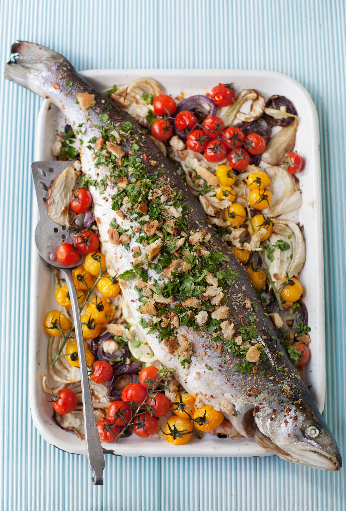 Bill Granger recipe: Whole roast salmon with fennel, baby to..