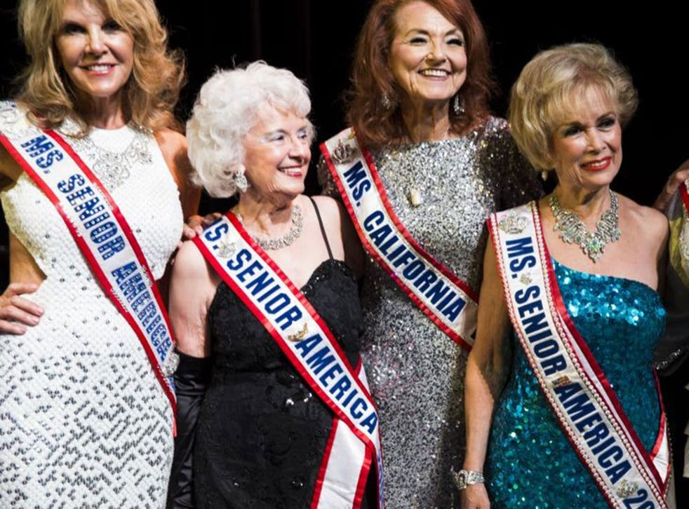 Past winners of the the Ms. Senior California and Ms. Senior America gather at the Ms. Senior California 2014 competition