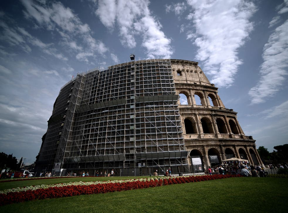 A general view shows the scaffoldings of the Colosseum during its restoration funded by Italian brand 'Tod's'