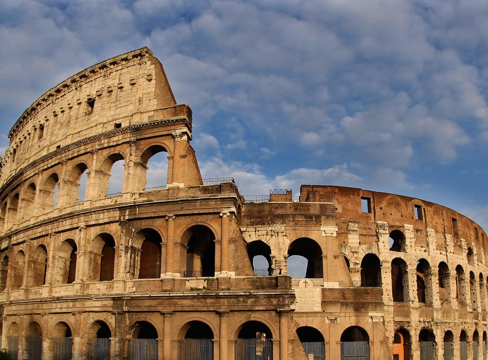 The crumbling ancient Colosseum in Rome
