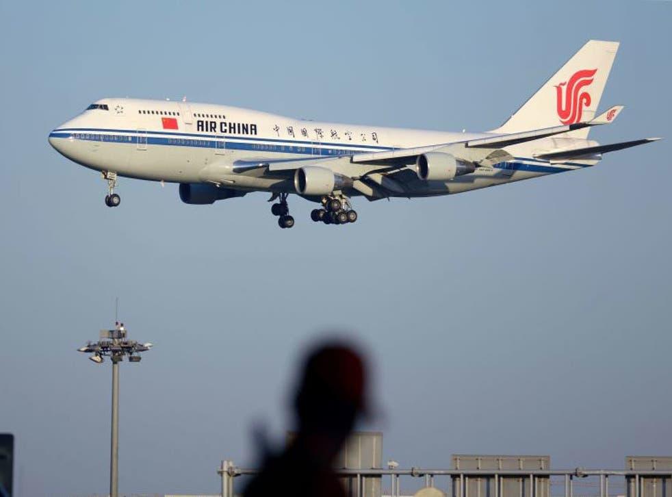 An Air China plane near Beijing