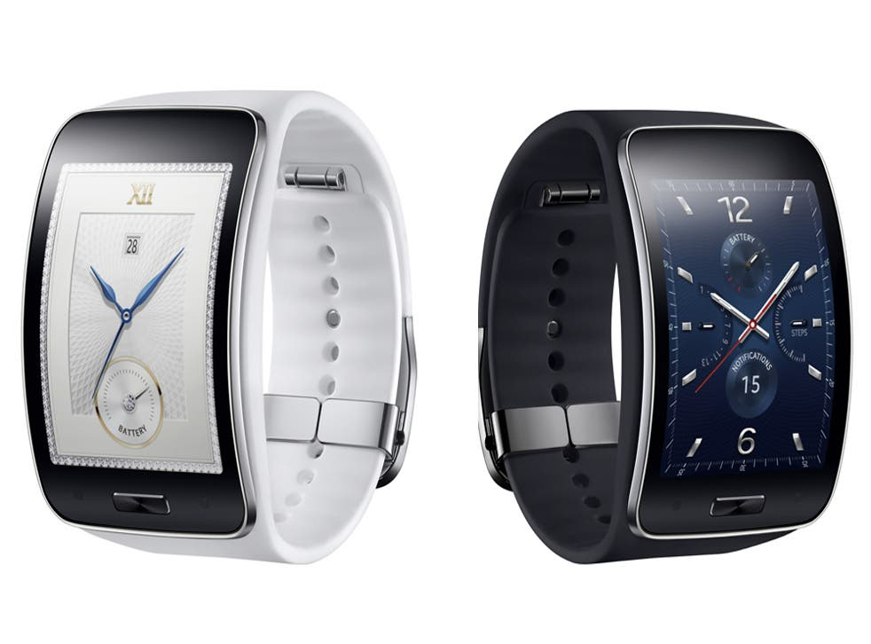 The Samsung Gear S, which has a rectangular, curved face