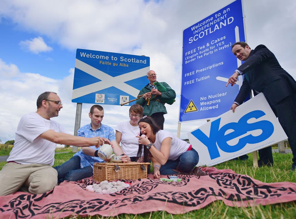 Members of English Scots for Yes hold a border tea party at Berwick-upon-Tweed