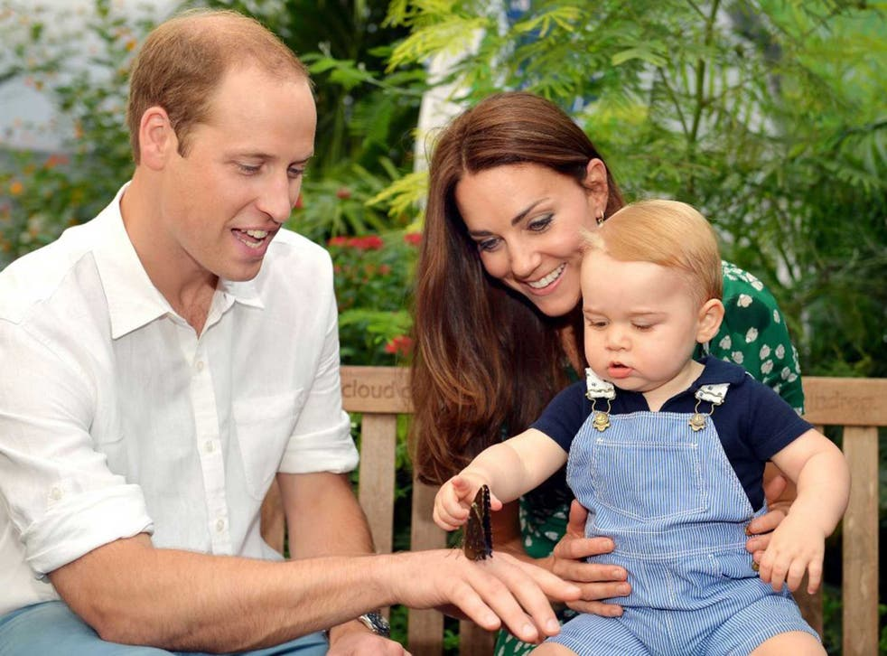 The Duke and Duchess of Cambridge with George - who will soon be a big brother