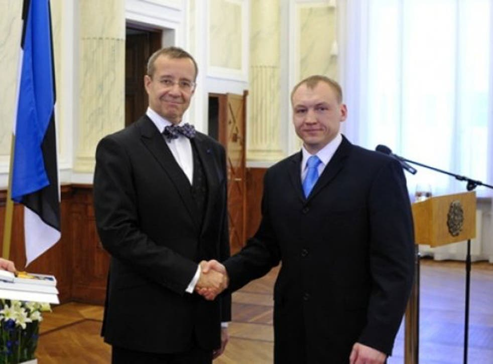 Eston Kohver, right, was decorated by the President in 2010