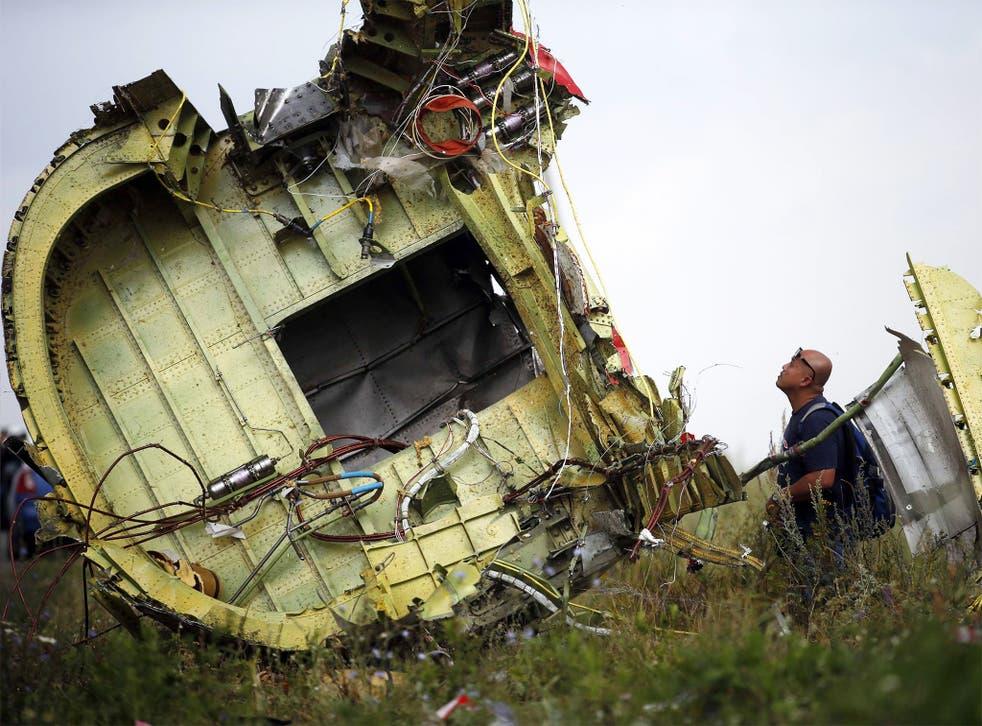 A Malaysian air crash investigator inspecting the crash site