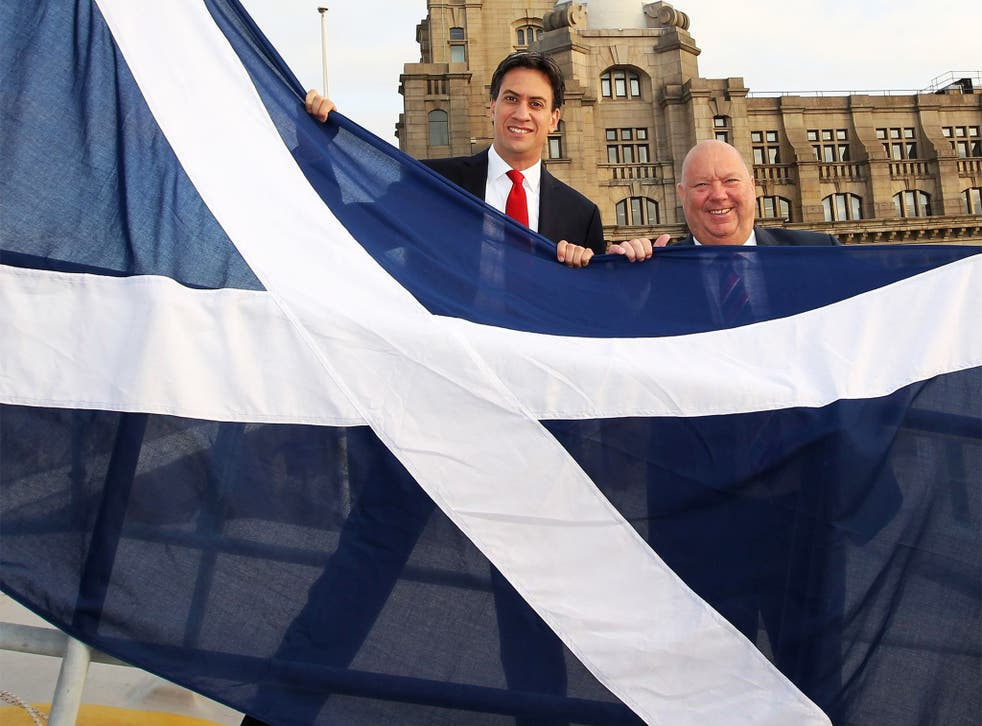 Labour leader Ed Miliband with Liverpool City Council leader Joe Anderson, raising a Saltire on Liverpool waterfront on Tuesday