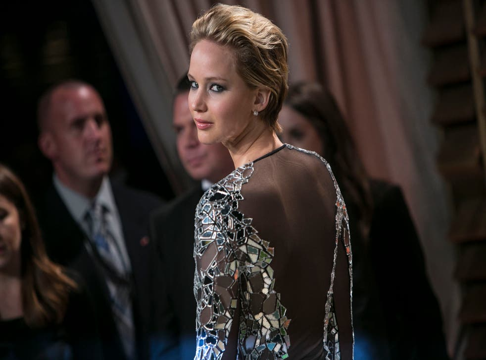 Jennifer Lawrence at the Vanity Fair Academy Awards party in February 2014
