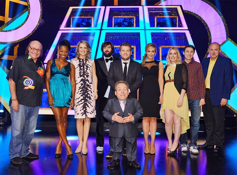Let's get quizzical: Warwick Davis (with James Corden centre) hosts Celebrity Squares