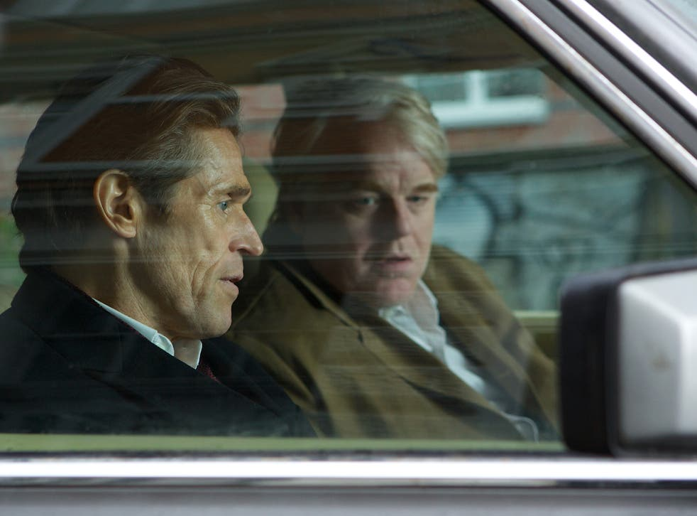 Willem Dafoe and Philip Seymour Hoffman in A Most Wanted Man