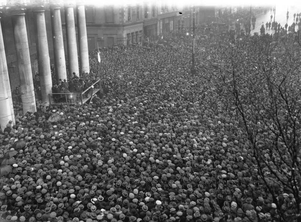 Revolutionary leader Michael Collins addresses supporters at College Green, Dublin, in 1922 after signing the treaty establishing the Irish Free State