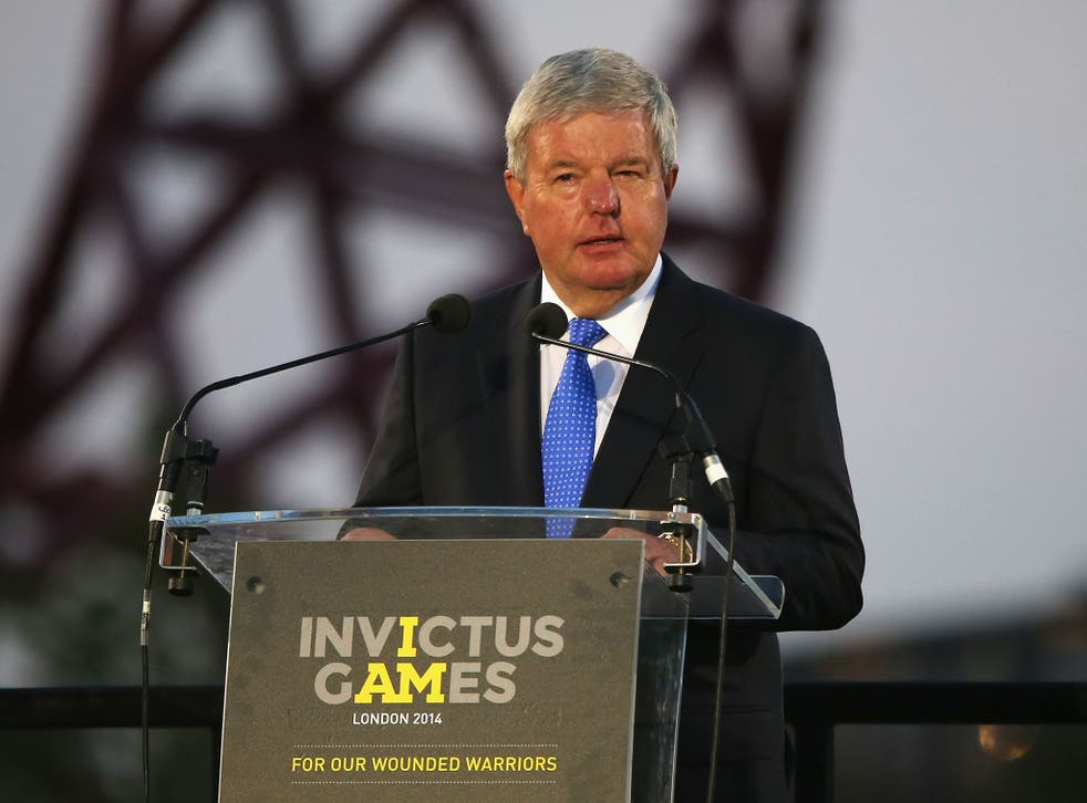 Chairman of the Invictus Games Organising Committee, Sir Keith Mills talks during the opening ceremony for the Invictus Games.