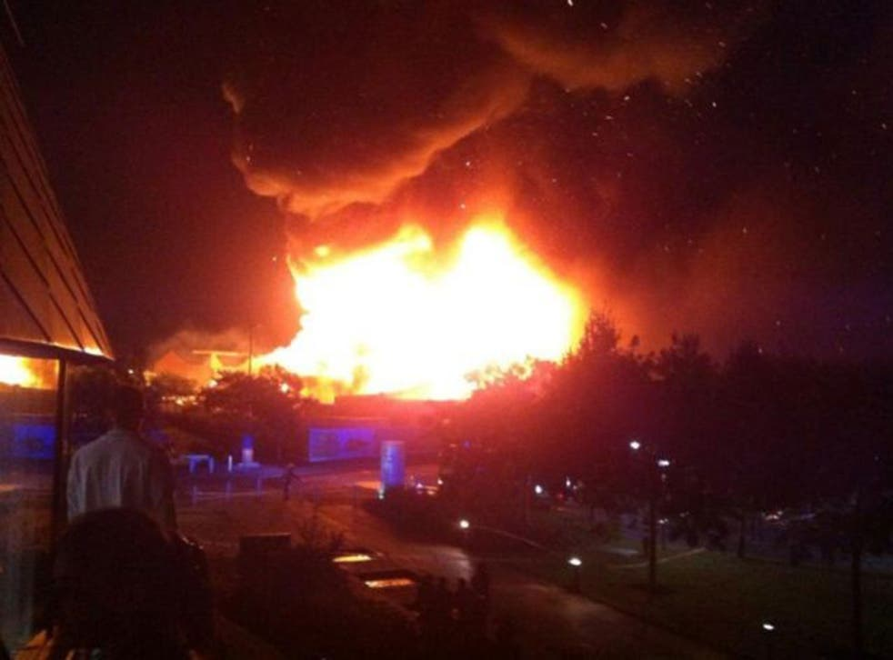 Flames stretch into the sky above the University of Nottingham's Jubilee campus
