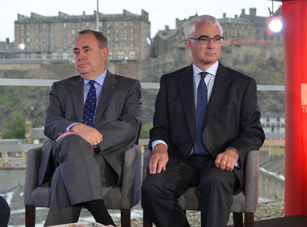 Scotland's First Minister Alex Salmond (left) and Better Together leader Alistair Darling appearing on The Andrew Marr Show