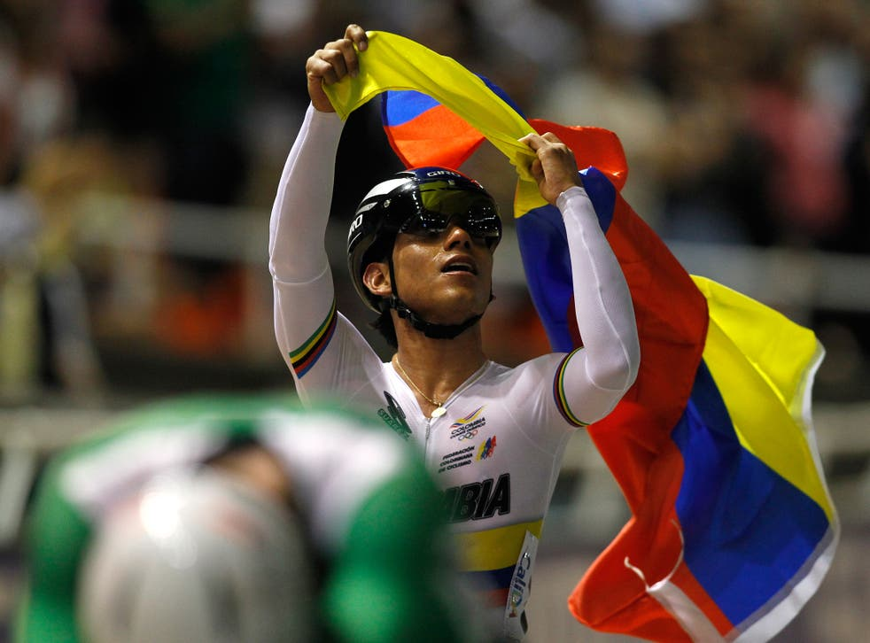 Cyclist Edwin Avila in a much less revealing Colombian kit during the Track Cycling World Championships this summer