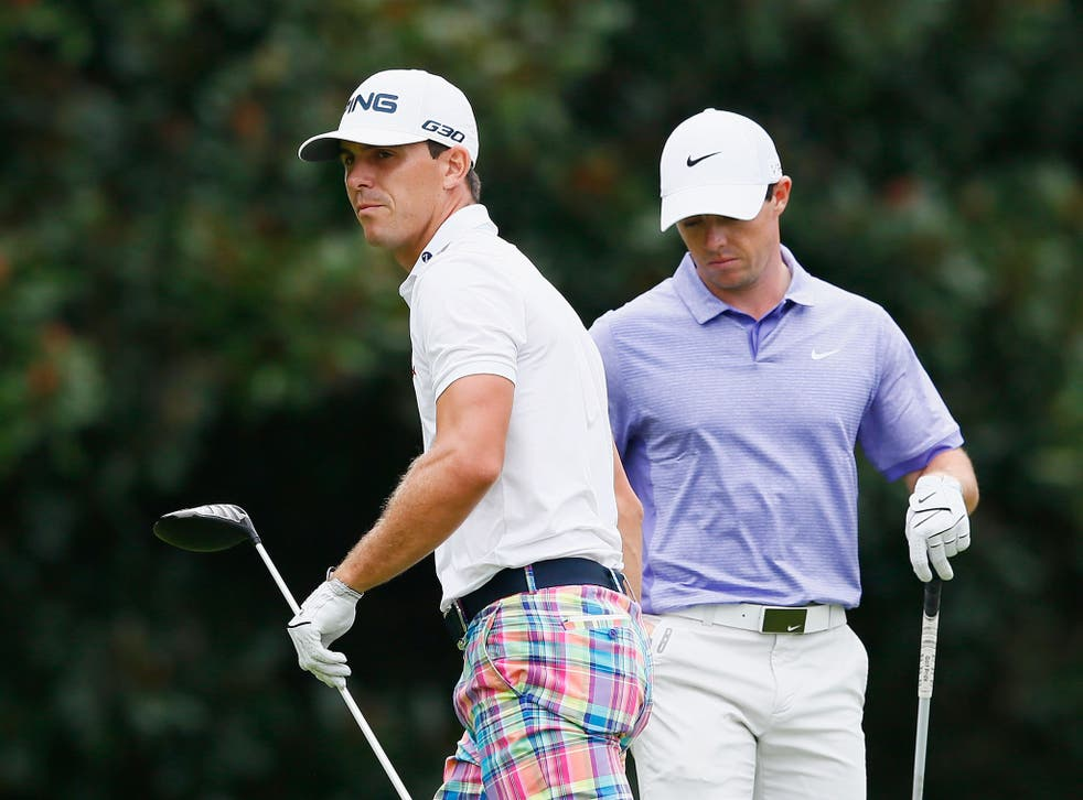 Billy Horschel (left) and Rory McIlroy at the Tour Championship on Sunday