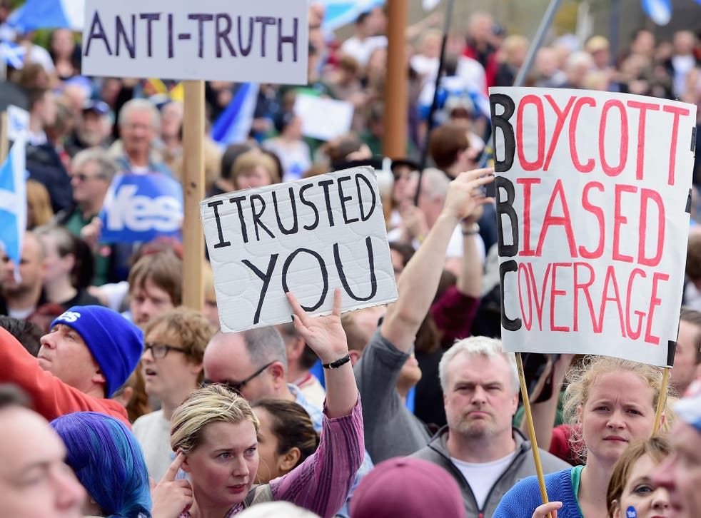 On Sunday thousands of Yes campaigners descended on the BBC's Scottish headquarters in Glasgow's Pacific Quay in protest